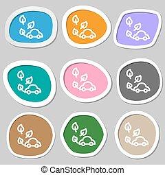 eco car icon symbols. Multicolored paper stickers. Vector