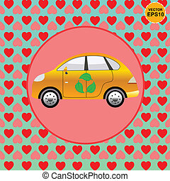 Eco car lover with heart background