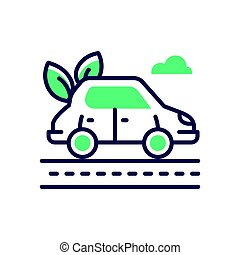 Eco Car - modern vector single line icon
