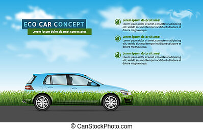 Eco car on the nature background