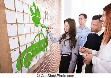 eco, car, planificação, pessoas negócio