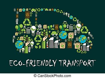 Eco car symbol made up of ecological icons