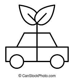 Eco car thin line icon. Ecology vehicle vector illustration isolated on white. Eco transport outline style design, designed for web and app. Eps 10.