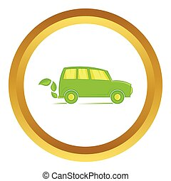 Eco car vector icon