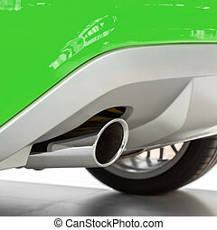 Eco car with new exhaust of a sports car. Ecology concept,...