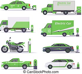 Eco cars. Save weather electricity vehicles vector green collection
