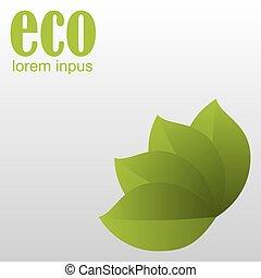eco, cartaz, folhas, experiência., verde branco
