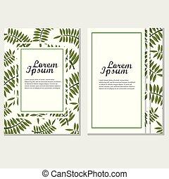 eco, cartaz, folhas, vetorial, desenho, folheto, verde, incorporado, template.