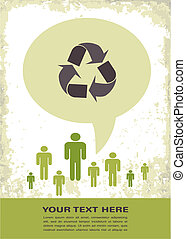 eco, cartaz, reciclagem, retro