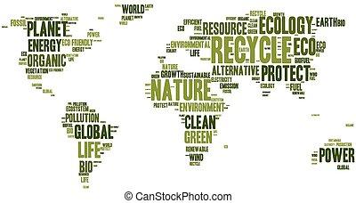 eco, carte, fait, mots, mondiale