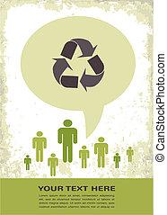 eco, cartel, reciclaje, retro