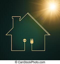 eco, casa, abstratos, poder energia, fundos, para, seu, desenho