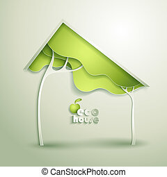 eco, casa, abstratos, vetorial, verde