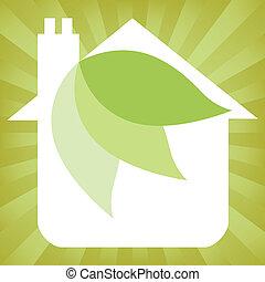 eco, casa, amigável, design.