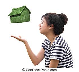 eco, casa, conceito, segurando, mulher