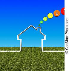 eco, casa, energia bassa, fondo