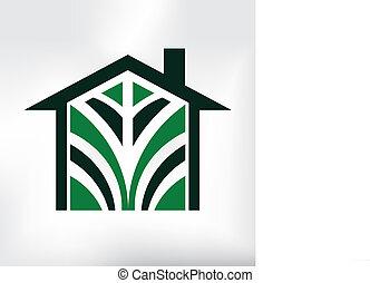 eco, casa, logotipo