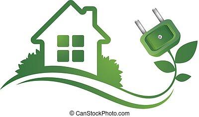 eco, casa, plugue, elétrico