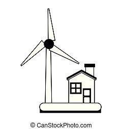 eco, casa, pretas, turbina, branca, vento