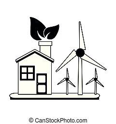 eco, casa, turbinas, pretas, branca, vento