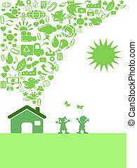 eco, casa, verde, ícone