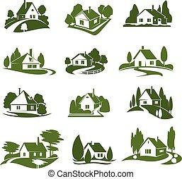 eco, casa verde, con, albero, e, prato, isolato, icona