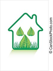 eco, casa, verde, icona