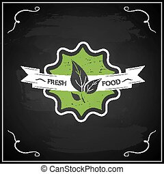 Eco chalk lettering label of organic natural fresh food