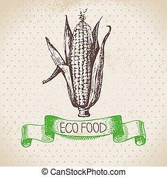 eco, cibo, granaglie, vegetable., schizzo, fondo., mano, ...