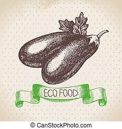 eco, cibo, vegetable., melanzana, schizzo, fondo., mano, ...