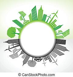 eco, cidade, círculo, ao redor, poluído