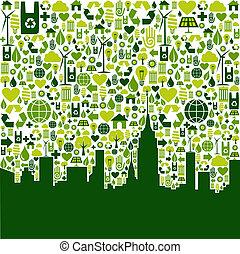 eco, cidade, experiência verde, ícones