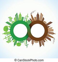 eco, cidade, poluído