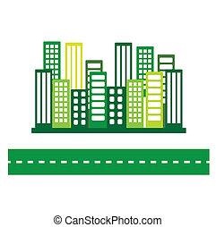 eco, cidade, verde