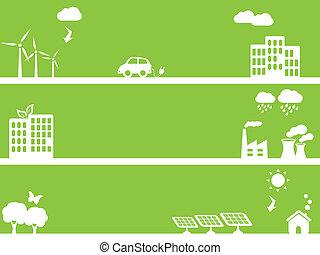 eco, cidades, verde, amigável