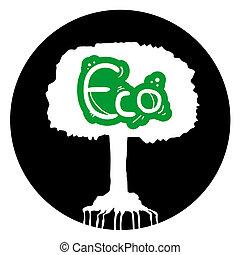 eco, cirkel, træ