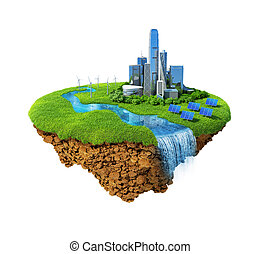 Eco city concept. Cityscape on a lawn with river, waterfall....