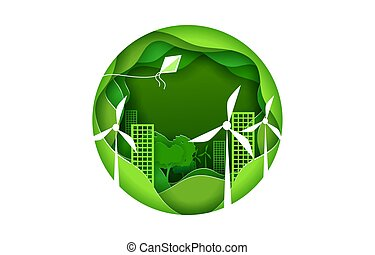 Eco city concept poster in paper art origami style. Vector illustration paper cut design. Green town with wind power turbines. Round sign.