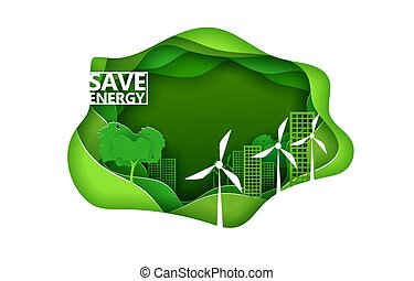 Eco city concept poster in paper art origami style. Vector illustration paper cut design. Green town with wind power turbines. Save energy concept.