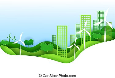 Eco city concept poster in paper art origami style. Vector illustration paper cut design. Green town with wind power turbines.