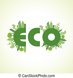 Eco city concept with eco text