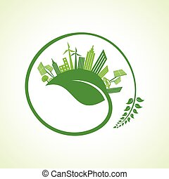 Eco city concept with leaf