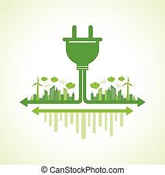 Eco city concept with plug
