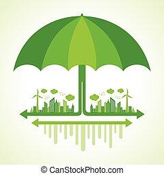 Eco city concept with umbrella