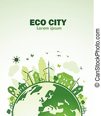 Eco city - green city with green Eco Earth concept ,vector...
