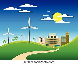 Eco city landscape background