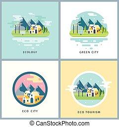 Eco city set. Alternative energy concept