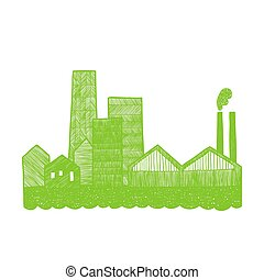 Eco city silhouette.