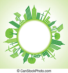 eco, cityscape, círculo, ao redor