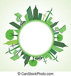 eco, cityscape, cirkel, ongeveer